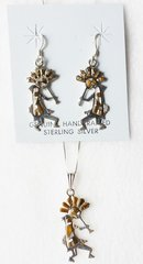 """Sterling silver mother of pearl and tiger eye large kokopelli inlay dangle earrings and 18"""" sterling silver box chain necklace set. S010"""