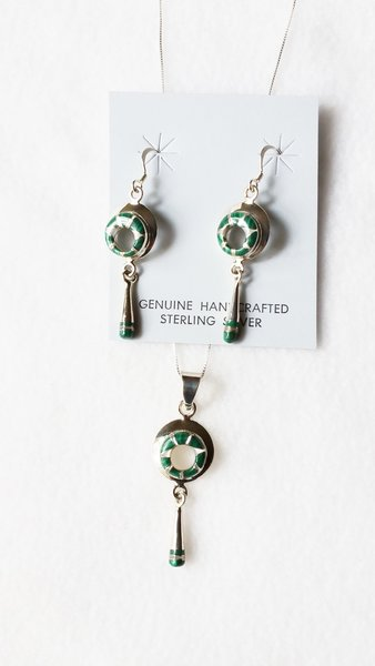 """Sterling silver malachite and mother of pearl inlay hollow circle dangle earrings and 18"""" sterling silver box chain necklace set. S062"""
