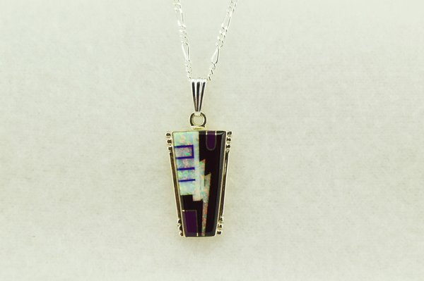 """Sterling silver black onyx, white opal and lapis inlay cork pendant with sterling silver 18"""" figaro chain. N186"""