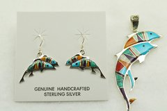 Sterling silver multi color inlay dolphin earrings and pendant set. S147