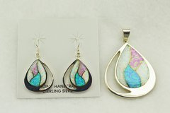 Sterling silver white, blue and pink opal inlay oval earrings and pendant set. S160
