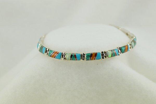 "Sterling silver multi color inlay link 7.75"" bracelet. B095"