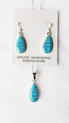 "Sterling silver turquoise inlay raindrop dangle earrings and 18"" sterling silver box chain necklace set. S071"