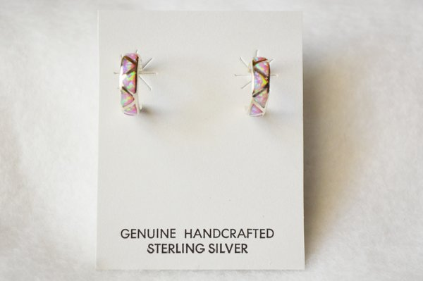 Sterling silver pink opal inlay small 3/4 hoop post earrings. E253