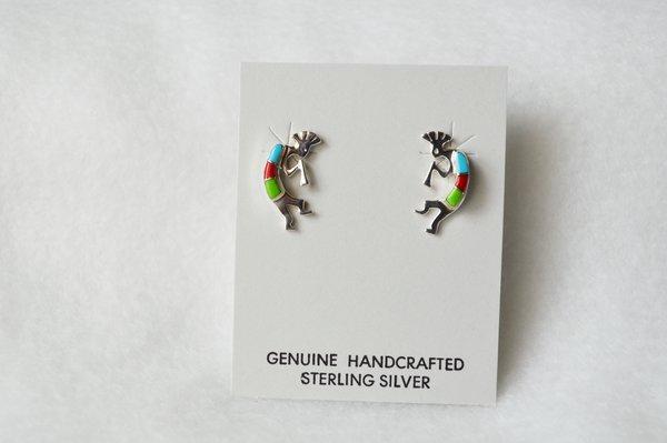 Sterling silver multi color kokopelli post earrings (E001)