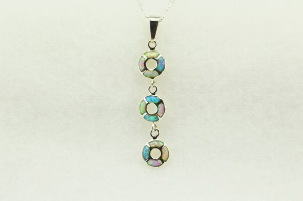 """Sterling silver pink, white and blue opal inlay 3 tier oval pendant with sterling silver 18"""" figaro chain. N247"""