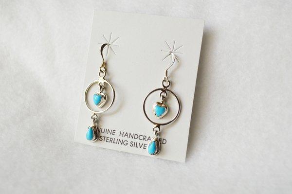Sterling silver turquoise heart in hoop dangle earrings. (E056)
