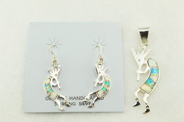Sterling silver white, blue and pink opal inlay kokopelli earrings and pendant set. S176