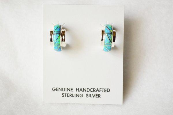 Sterling silver blue opal inlay hoop post earrings. E268
