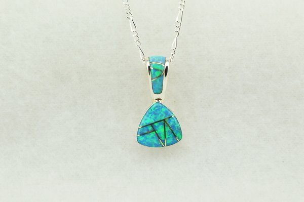 """Sterling silver blue opal inlay pick shaped pendant with sterling silver 18"""" figaro chain. N234"""