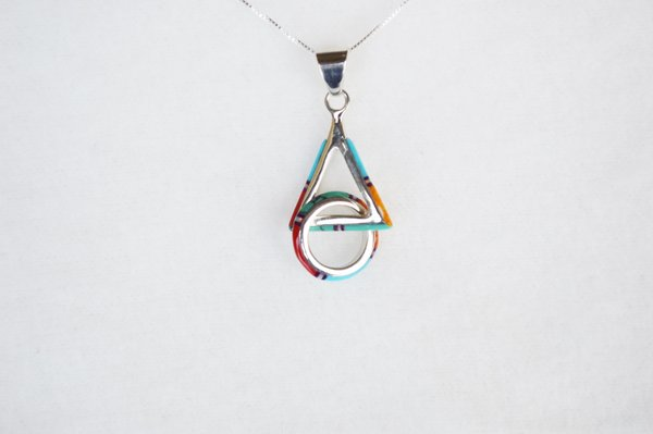 """Sterling silver multi color inlay hoop in triangle pendant with sterling silver 18"""" box chain. N112."""