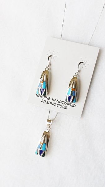 """Sterling silver multi color inlay (vertical) triangle dangle earrings and 18"""" sterling silver box chain necklace set. S122"""