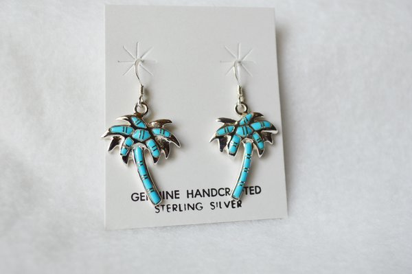 Sterling silver turquoise inlay palm tree dangle earrings. (E060)
