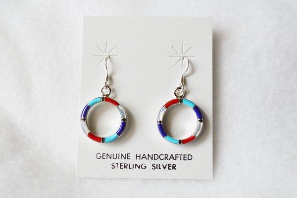 Sterling silver inlay multi color hoop dangle earrings. E082
