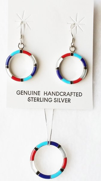 """Sterling silver multi color inlay hoop dangle earrings and 18"""" sterling silver box chain necklace set. S100"""