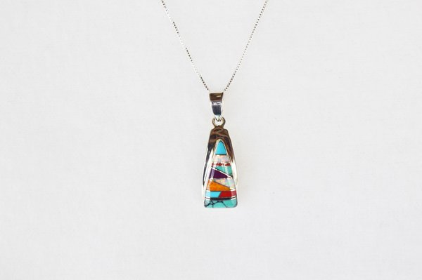 "Sterling silver multi color inlay triangle pendant with sterling silver 18"" box chain. N031"