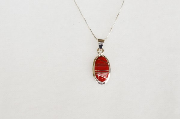 "Sterling silver coral inlay large oval pendant with 18"" sterling silver box chain. N052."