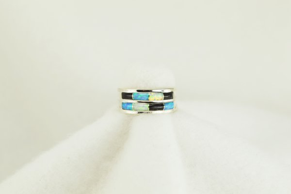 Sterling silver white opal, blue opal and black onyx inlay ring. R116