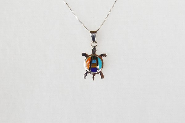 """Sterling silver multi color vertical inlay turtle pendant with sterling silver 18"""" box chain. N018"""