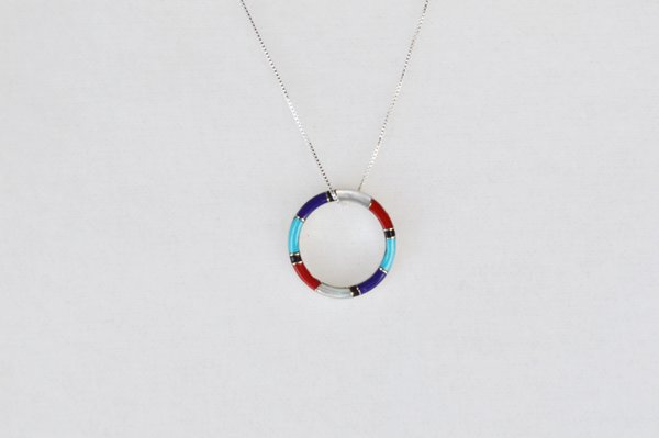 """Sterling silver multi color inlay hoop pendant with sterling silver 18"""" box chain. N020"""