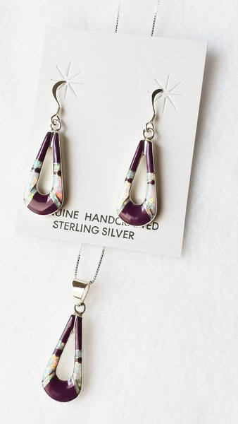 """Sterling silver white opal and sugilite inlay hollow teardrop dangle earrings and 18"""" sterling silver box chain necklace set. S024"""