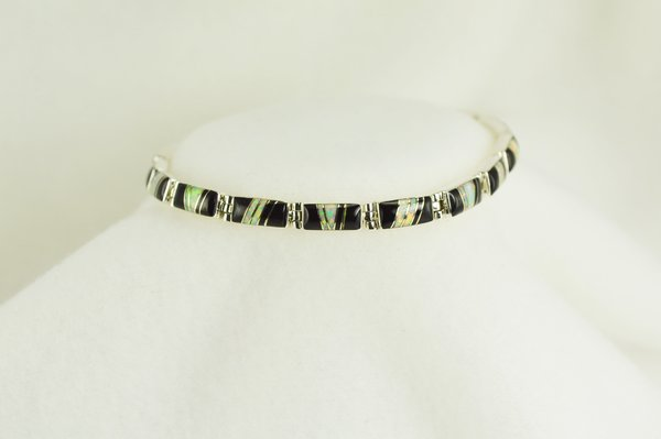 "Sterling silver black onyx and white opal inlay 7.5"" link bracelet. B026"