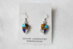 Sterling silver multi color inlay arrowhead earrings. (E072)