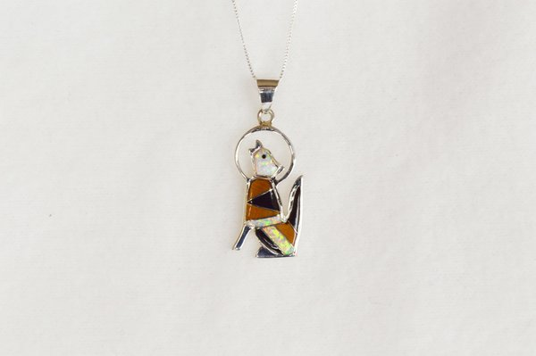 """Sterling silver white opal, black onyx and tiger eye inlay coyote pendant with sterling silver 18"""" box chain. N064."""
