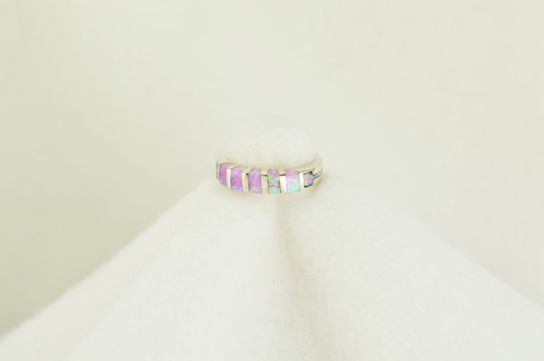 Sterling silver pink opal inlay ring. R104
