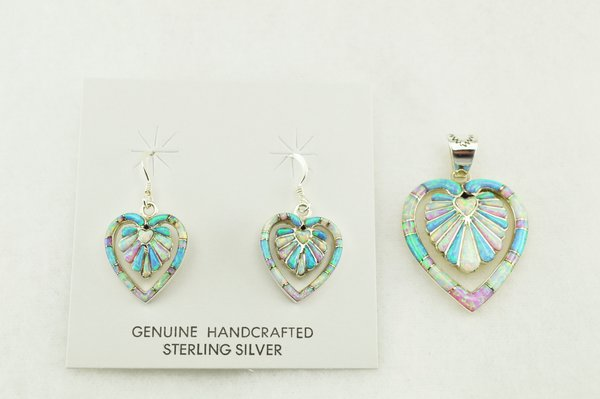 Sterling silver white, blue and pink opal inlay heart shaped earrings and pendant set. S163