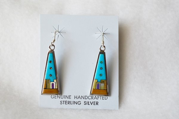 Sterling silver inlay multi color triangle tower adobe dangle earrings. E098