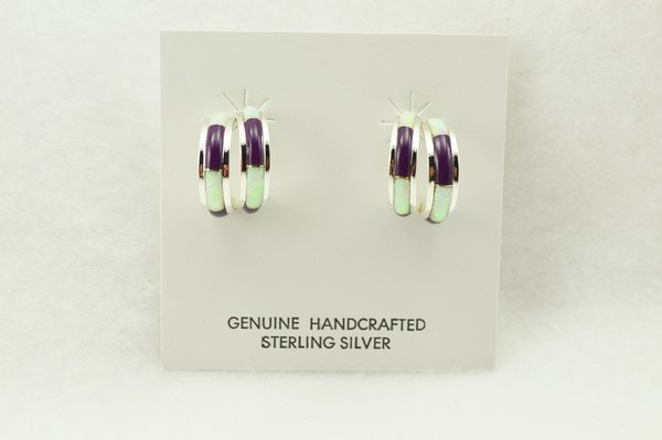 Sterling silver white opal and sugilite inlay double hoop post earrings. E360