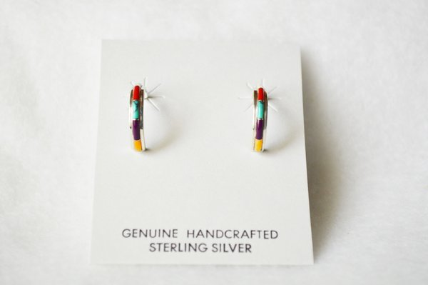 Sterling silver multi color inlay small hoop post earrings. E280