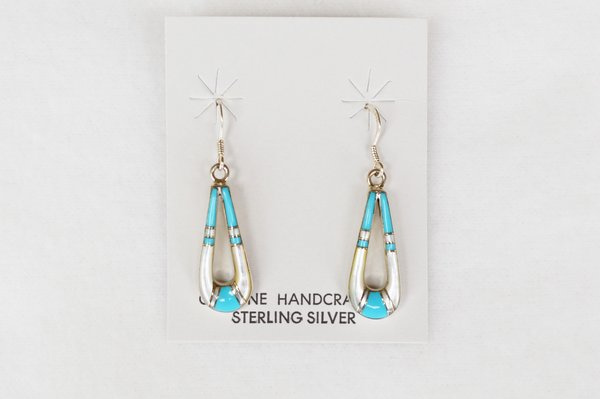 Sterling silver turquoise and mother of pearl inlay teardrop dangle earrings. (E036)