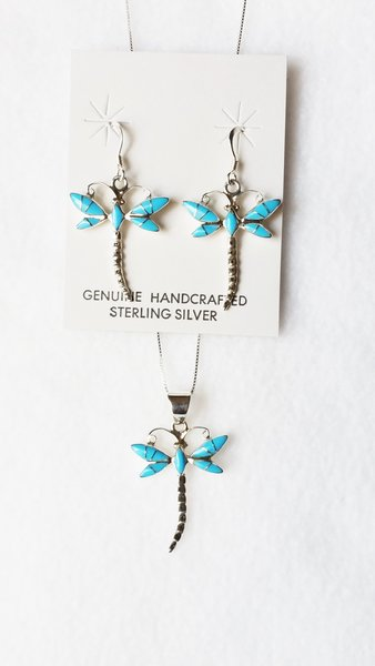 """Sterling silver turquoise inlay dragonfly dangle earrings and 18"""" sterling silver box chain necklace set. S082"""