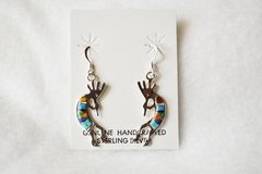 Sterling silver multi color inlay large kokopelli dangle earrings. E146