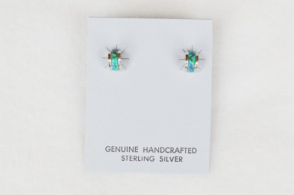 Sterling silver blue opal round inlay post earrings. (E031)