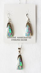 "Sterling silver blue, white and pink opal inlay triangle dangle earrings and 18"" sterling silver box chain necklace set. S027"