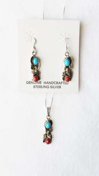 """Sterling silver turquoise and coral dangle earrings and 18"""" sterling silver box chain necklace set. S109"""