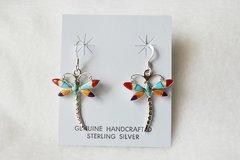 Sterling silver multi color dragon fly dangle earrings. E075