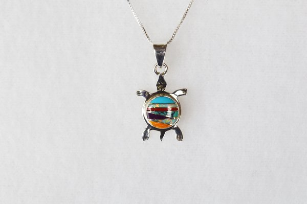 """Sterling silver multi color inlay turtle with opal pendant and sterling silver 18"""" box chain. N039"""