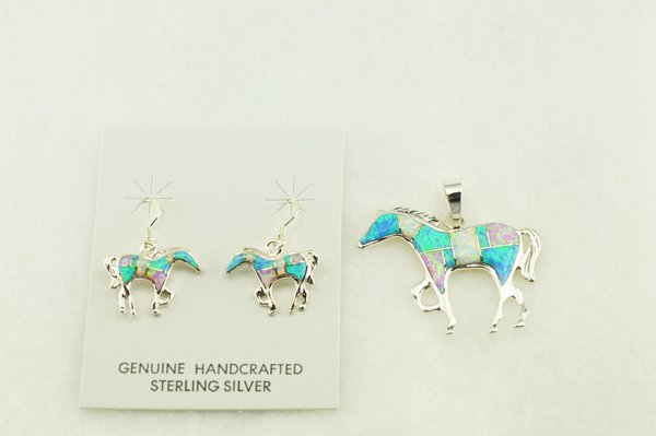 Sterling silver white, blue and pink opal inlay horse earrings and pendant set. S169