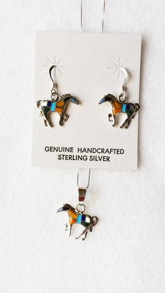 """Sterling silver multi color inlay horse dangle earrings and 18"""" sterling silver box chain necklace set. S099"""