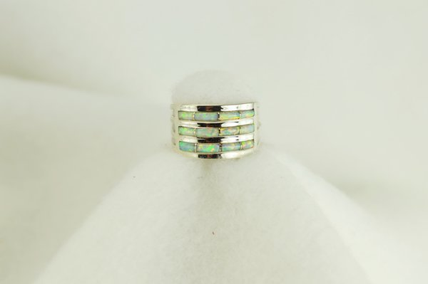 Sterling silver white opal inlay ring. R025