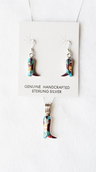 "Sterling silver multi color inlay cowboy boots dangle earrings and 18"" sterling silver box chain necklace set. S094"