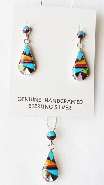 "Sterling silver multi color inlay raindrop with inlay spot post earrings and 18"" sterling silver box chain necklace set. S116"