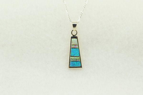 "Sterling silver pink, white and blue opal inlay tall triangle pendant with sterling silver 18"" figaro chain. N243"