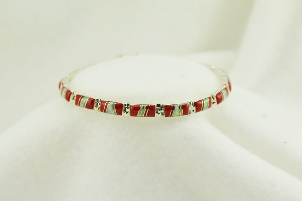 """Sterling silver coral and white opal inlay link 7.5"""" bracelet. B052"""