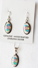 "Sterling silver blue, white and pink opal inlay oval dangle earrings and 18"" sterling silver box chain necklace set. S032"