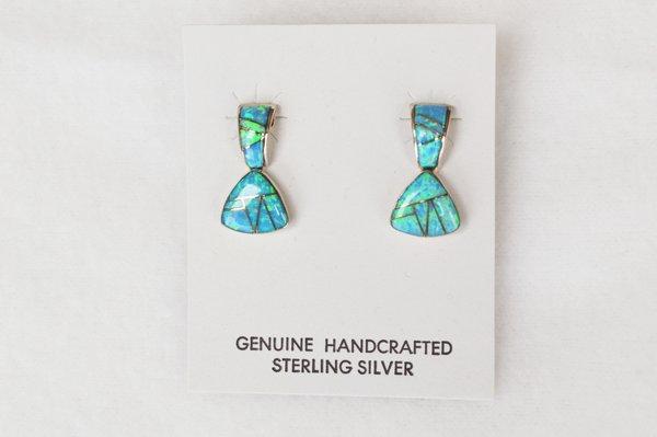 Sterling silver inlay blue opal post earrings. E103